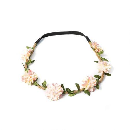 headband fleurs pêche
