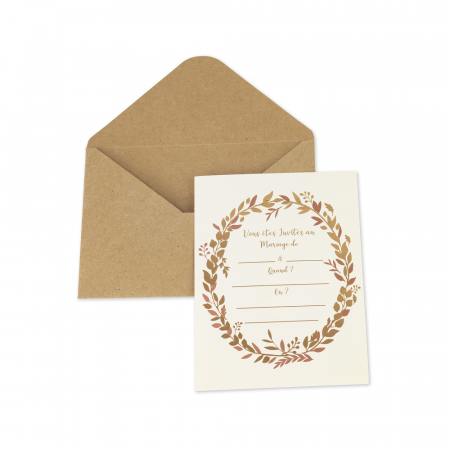 10 lots d'invitations kraft...