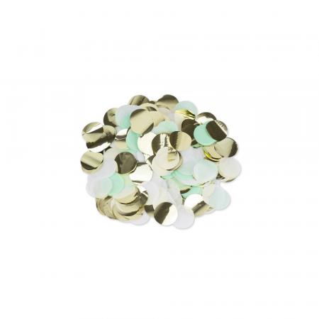 36 g confettis ronds menthe, blanc et doré