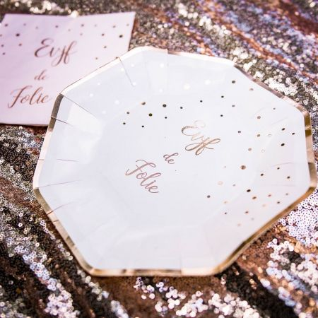 8 assiettes rose gold evjf