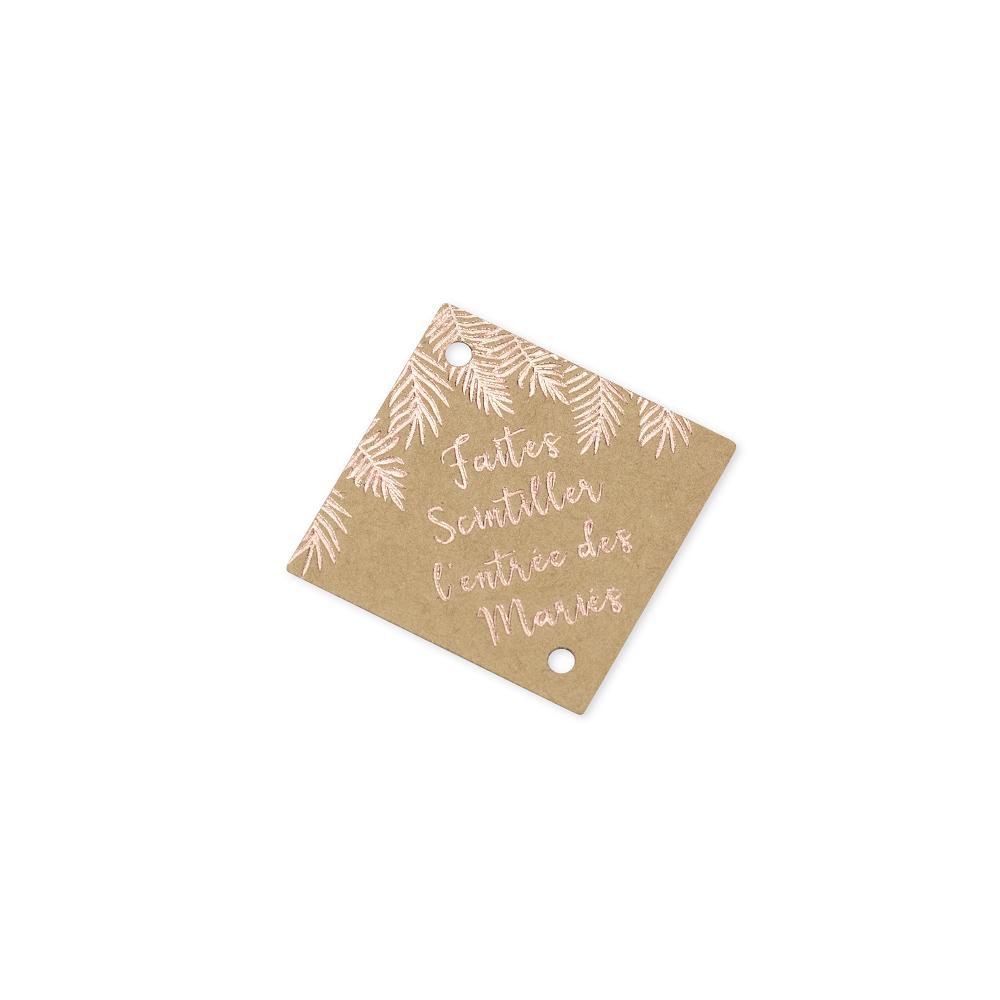 Étiquettes pour étincelles kraft et rose gold