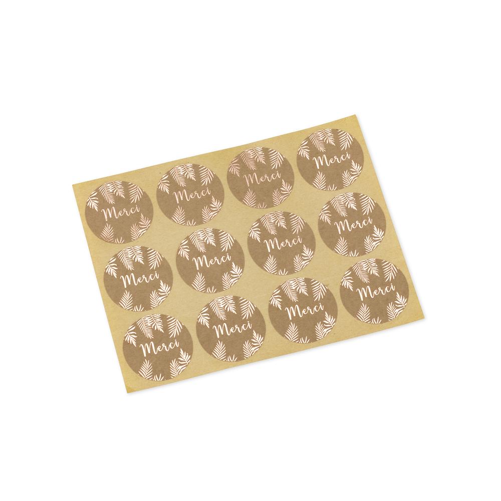 stickers merci kraft et feuillage rose gold