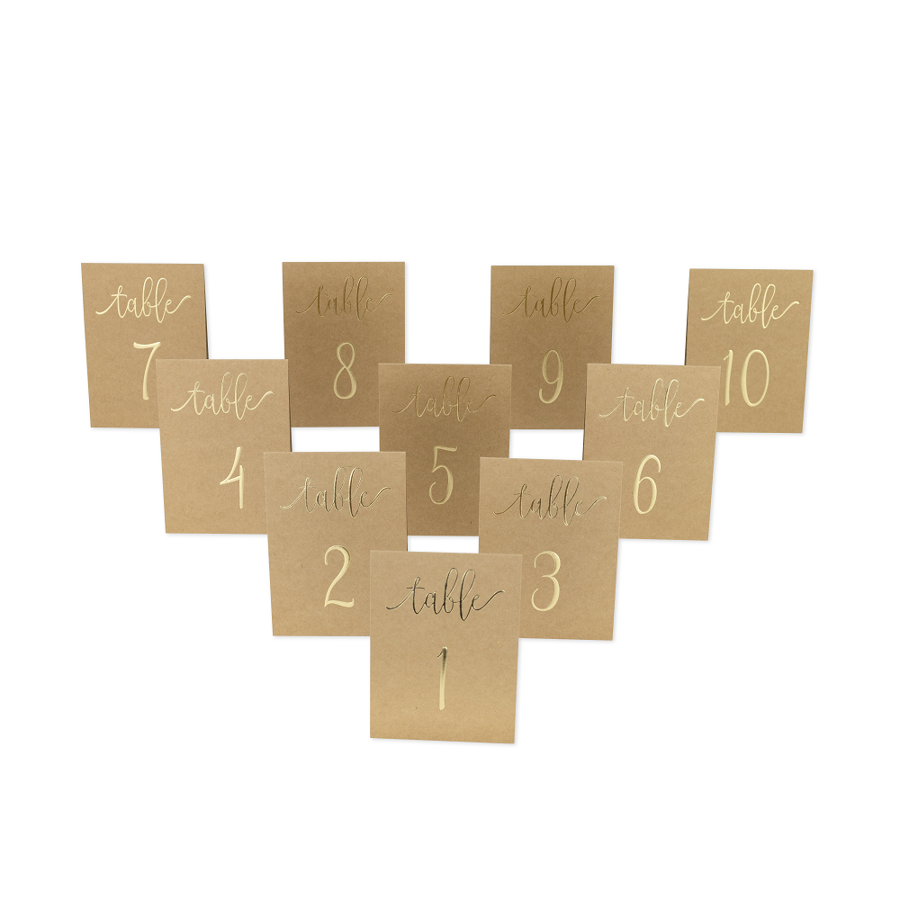 10 numéro de tables kraft et doré
