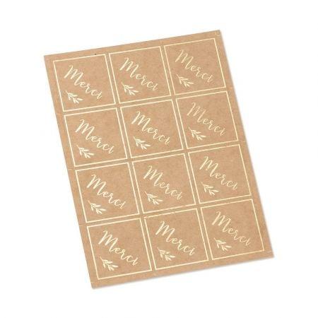 24 stickers kraft et doré...