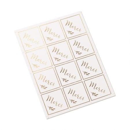stickers blanc et doré merci