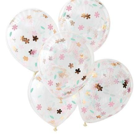 5 ballons confettis fleurs et rose gold