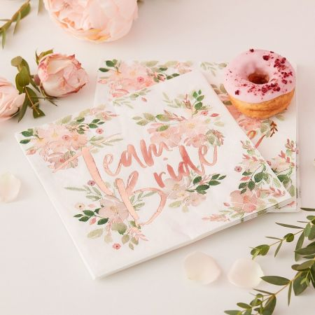 serviettes evjf fleuri team bride