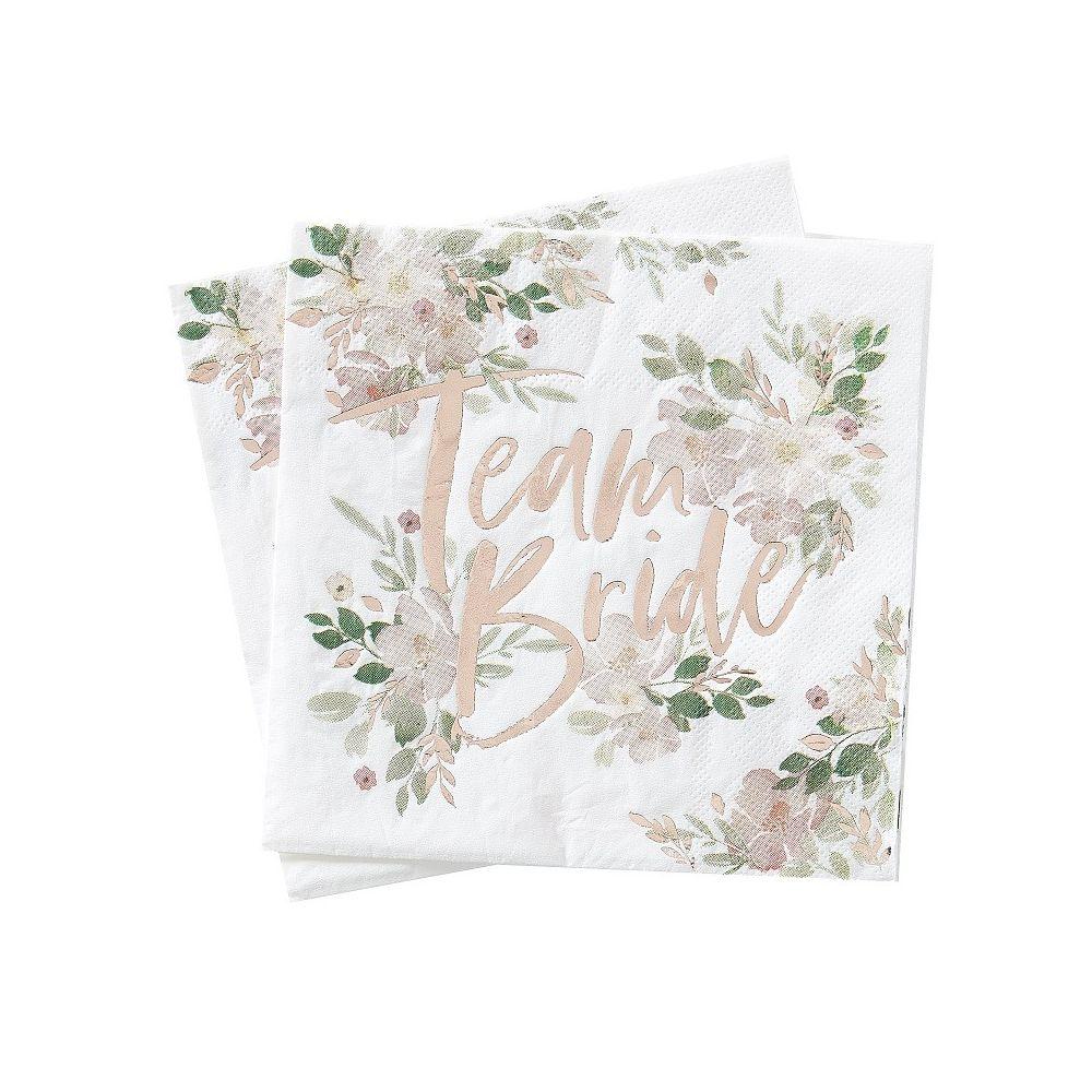 serviettes evjf fleuri team bride
