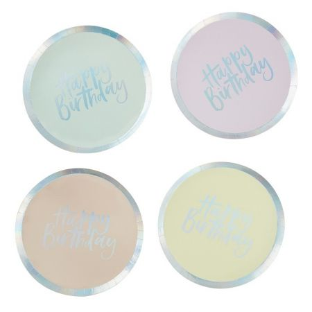 Assiettes happy birthday pastel