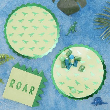 8 assiettes dinosaures - 23 cm