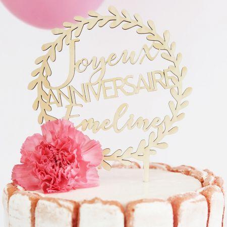 """Cake topper en bois personnalisable """"anniversaire couronne"""""""