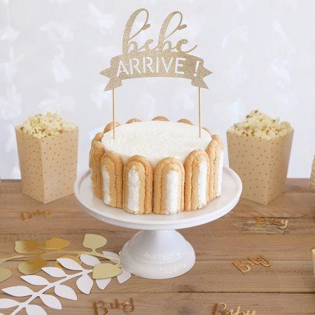 """Cake topper """"bébé arrive"""" couleur au choix"""