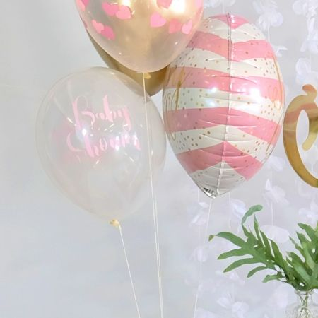 "Ballon transparent ""Baby shower"" rose"