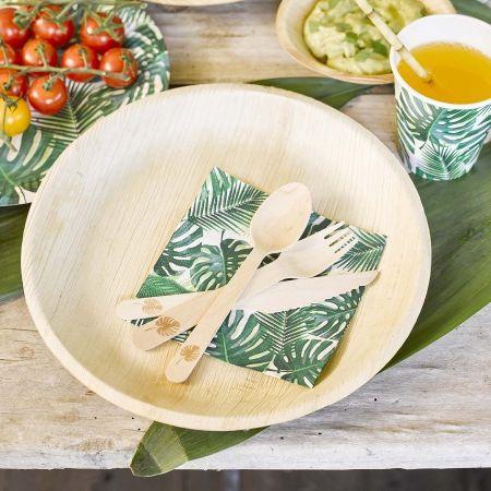 assiettes feuilles de palmiers