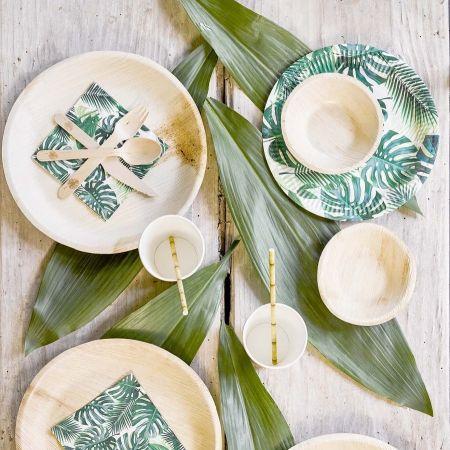 assiettes écologiques palmiers