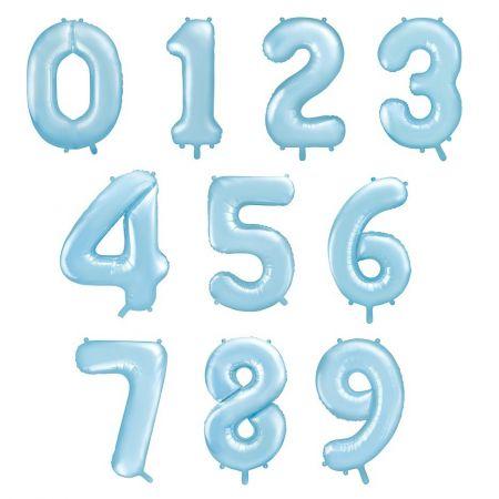 Ballon chiffre bleu mat -...