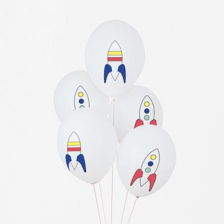 """5 ballons """"espace"""" -  30 cm"""