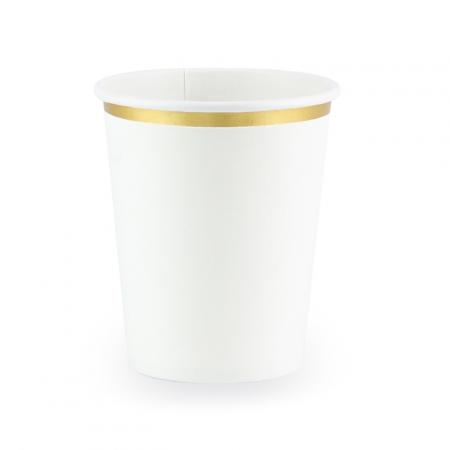 6 gobelets blanc et doré