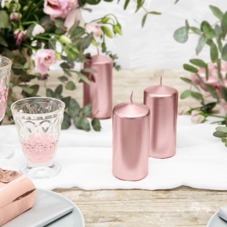Bougie cylindrique rose...