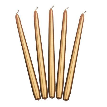 10 bougies cierge dorées -...