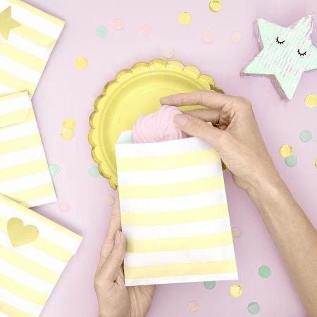 6 sachets rayures jaunes