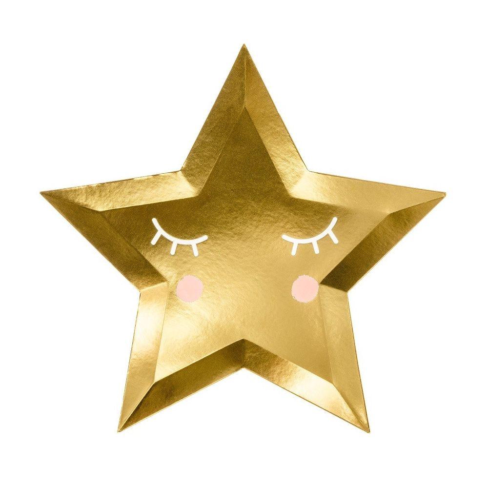 6 Assiettes Jolie étoile Dorée 27 Cm