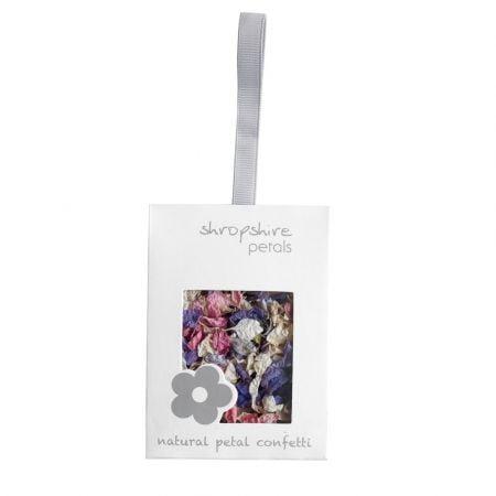 Sachet blanc confettis pétales de fleurs pastel