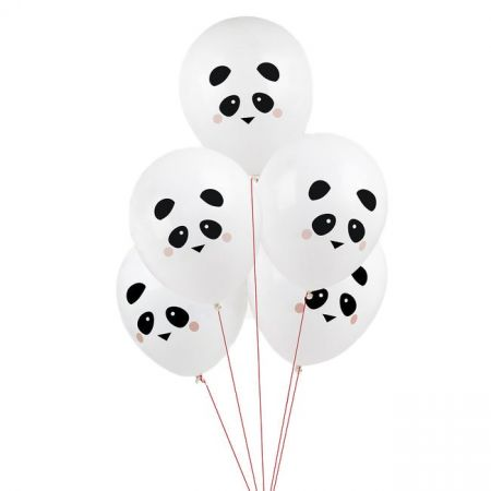 """5 ballons """"panda"""" -  30 cm"""
