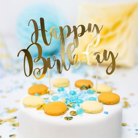 "Cake topper papier doré ""happy birthday"""