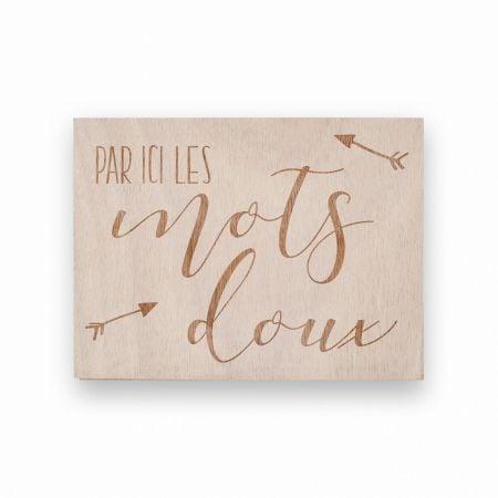 """Panneau en bois """"mots doux""""..."""