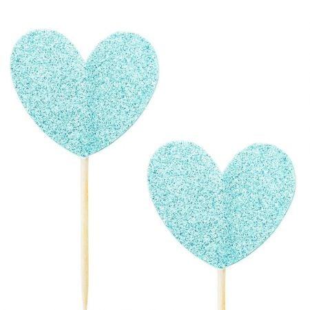 10 pics coeur glitter bleu