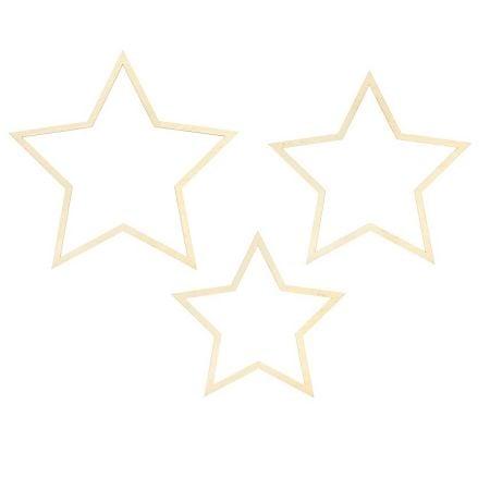 Lot de 3 étoiles en bois