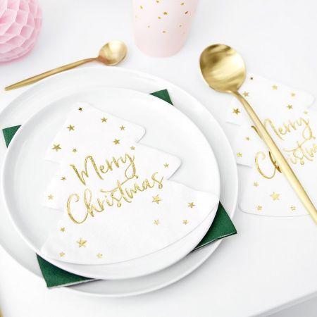 "20 serviettes sapin ""Merry..."