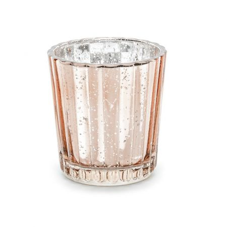 Photophore en verre rose gold