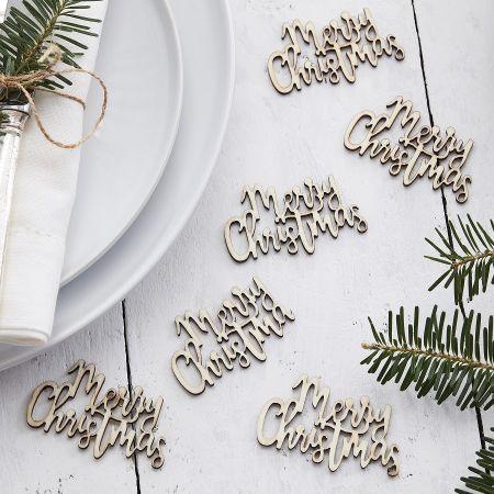 """20 confettis en bois """"Merry..."""