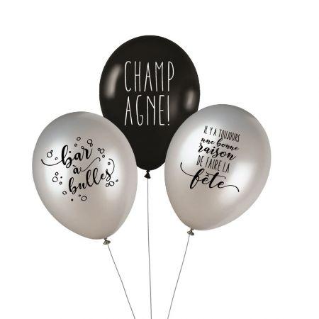 "Lot de 3 ballons ""champagne"""