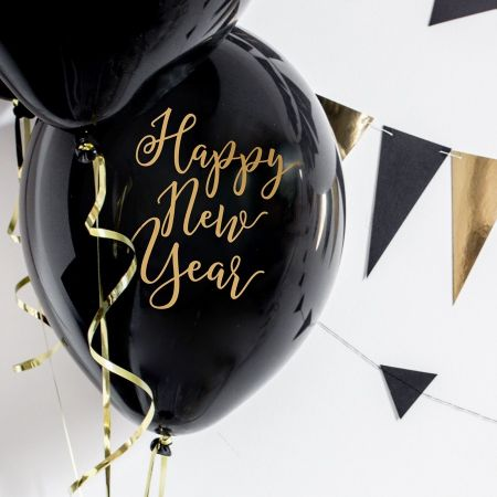 "6 ballons noirs ""Happy New..."