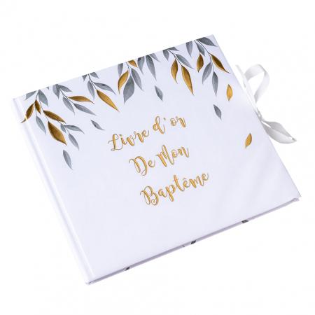 """Livre d'or feuillage """"baptême"""""""