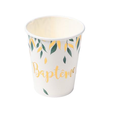 "8 gobelets feuillage ""baptême"""