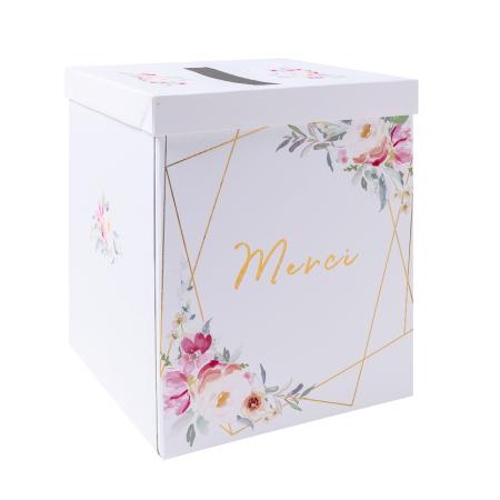 "Urne merci ""mariage fleuri"""