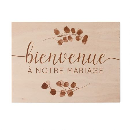 """Panneau en bois """"Bienvenue""""..."""