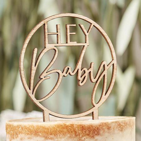 """Cake topper en bois """"Hey baby"""""""