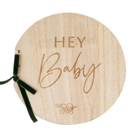 "Livre d'or en bois ""Hey baby"""