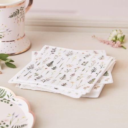 16 serviettes botaniques -...