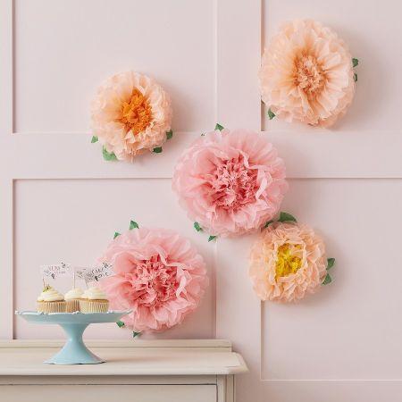 Lot de 6 fleurs pompons...