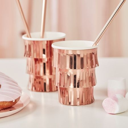 8 gobelets à franges rose gold