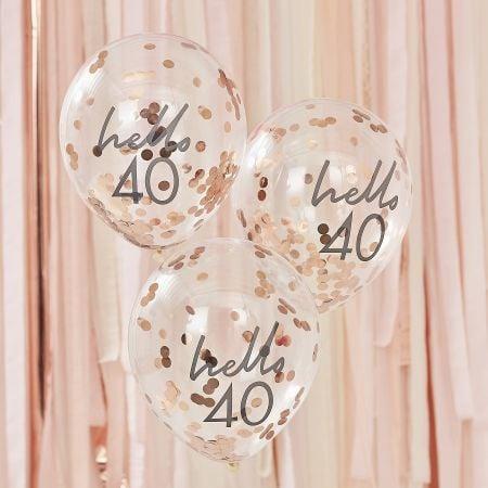 5 ballons confettis rose...