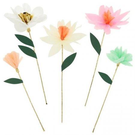 10 fleurs en papier pastel