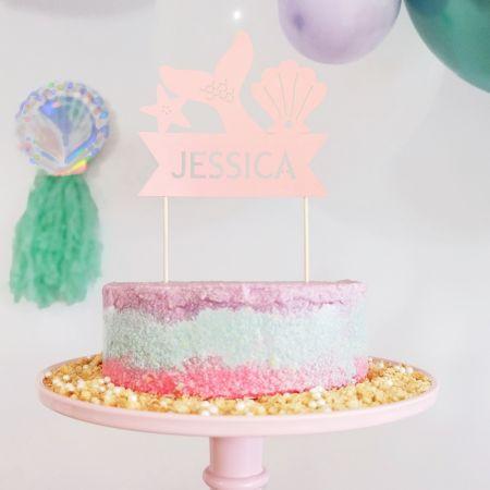 Cake topper en papier personnalisable Sirène