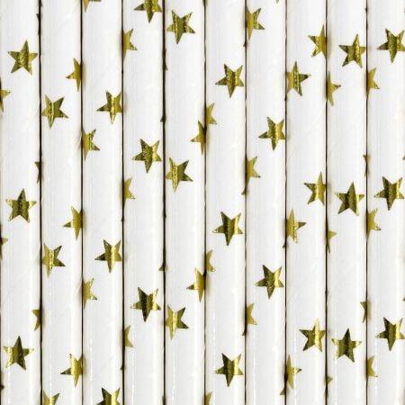10 pailles blanches étoiles...